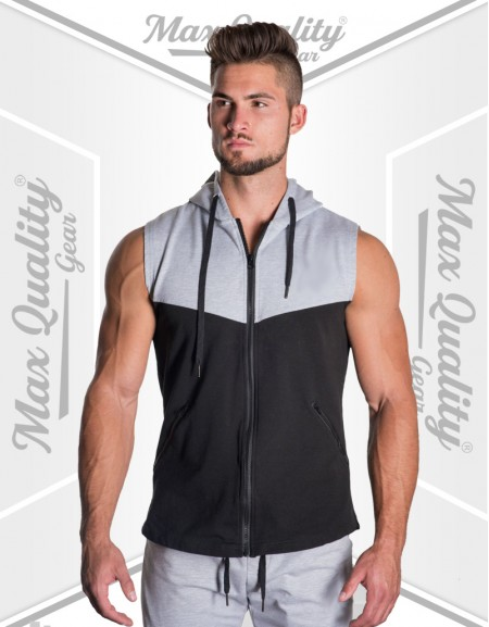 MEN ZIP UP SLEEVELESS TANK HOODIE STYLE