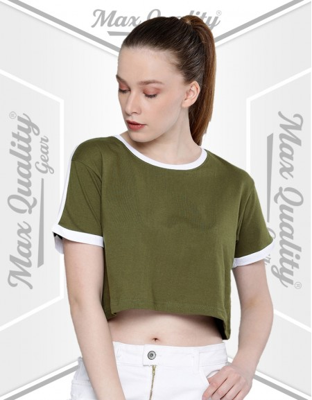 RACHEL LADIES ROUND NECK CROP T-SHIRT