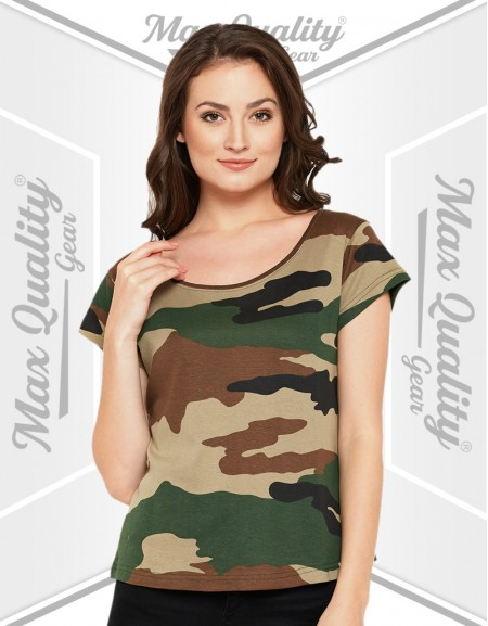 LADIES CAMO PRINT CASUAL T-SHIRT