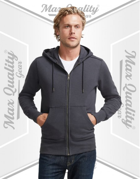 MEN'S COTTON PLAIN ZIPPER HOODIE