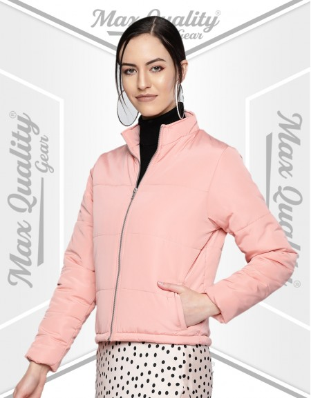WOMEN WINTER PADDED PINK PUFFER JACKET