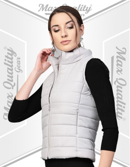 MAX CASUAL SLEEVELESS SLIM FIT PUFFER JACKET