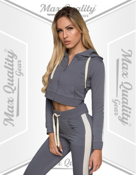 LADIES STRIPE STYLE FLEECE CROP HOODIE TRACKSUIT